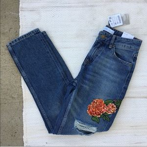 NWT Zara Basic relaxed fit mid rise Floral jeans